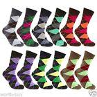 New Lot 12 Pairs VIVA Mens Argyle Pattern Dress Socks Cotton Fashion Size 10-13