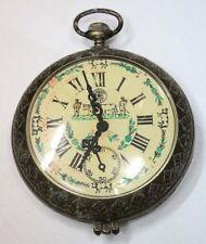 "Rare funny old kitsch metal Italian ashtray big Roskopf pocket watch shape 7 """
