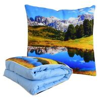 BlueHills Soft Quilt Throw Convertible Pillow Travel Blanket decorative quilt