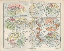 Landkarte map 1905: KARTEN ZUR GESCHICHTE DER ERDKUNDE I. Herodot Behaim Homann