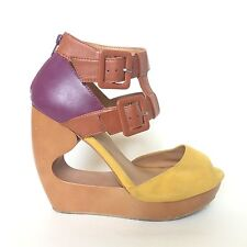 a66f25982b2 Qupid Womens Wedge Sandals Size 7.5 Colorblock Cutout Heels Ankle Strap