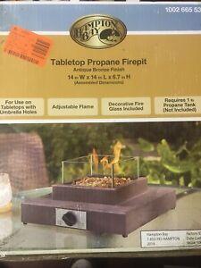 Hampton Bay Table Top Fire Pit 10000 BTU Gas Powered Portable New Sealed Box