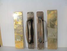 """Antique Brass Door Handles Pulls Set Finger Push Plates Shop Vintage Old  12"""""""