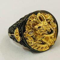 Chinese Dragon Geschnitzte Männer 18K Schwarz Gold Überzogener Partei Ring U7P0