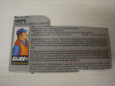Card / File Card Gi Joe Gijoe Hasbro 1984: Figurine Cutter / Harpo