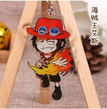 Hot Japan Anime ONE PIECE Portgas·D· Ace Acrylic Key Ring Pendant Keychain Gift