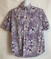 MacHay Men's Purple Floral Button-up Short Sleeve Shirt Size XL (31)