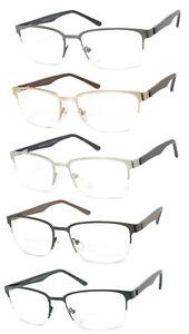 Metal Frame Semi Rimless Bifocal Reading Glasses Spring Hinges Temples