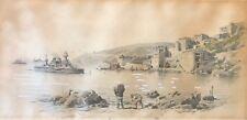 Villefranche-sur- Mer ? le Gaulois cuirassé au mouillage lavis encre début XXe