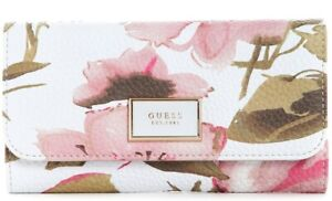 NEW GUESS Women's Pink Spring Floral Print Slim Wallet Clutch Bag