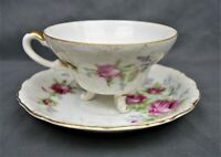 Vintage Bone China Footed Floral Tea Cup and Saucer Made in Japan