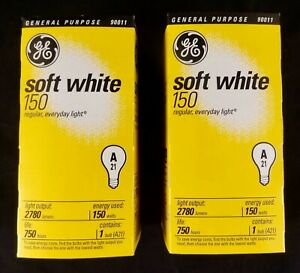 2 Piece Lot Of GE 10429 A21 150W Light Bulbs, Soft White, New In Box