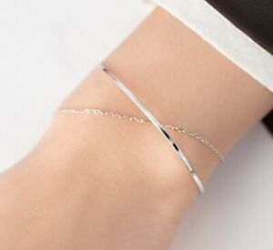 """Women 925 Sterling Silver Delicate Silver Bangle and Chain Wrap Bracelet 6.5"""""""