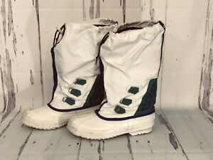 Vintage Sorel Women's Teal & White Winter Snow Boots size 9,Removable liner