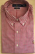 Ralph Lauren Men's Long Sleeve SLIM Fit Shirt - LARGE (RED)