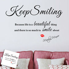 Marilyn Monroe lip Lettering proverb Keep Smiling Wall Sticker Vinyl Art Quotes