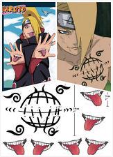 Anime Cosplay Body Sticker Naruto Deidara Mouth Tongue Logo Temporary Tattoo