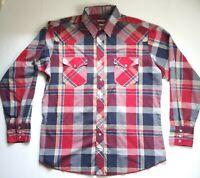 Wrangler Western Shirts Plaid Pearl Snap Vintage Large 16-16.5 Red Blue Cowboy