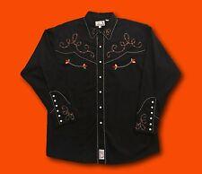 Men's PANHANDLE SLIM Black Retro Multi-Color Stitched Western Snap Shirt Sz L