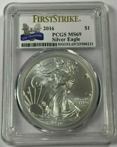 2016 AMERICAN SILVER EAGLE PCGS MS69 FIRST STRIKE 30TH ANNIVERSARY