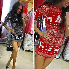 Damen Xmas Weihnachten 3/4 Ärmel Minikleid Party Kleid Bodycon Elch Kleider Top