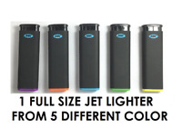 1 Ct Of MK JET BLACK TORCH  Big Full Size Lighters Refillable Windproof Lighter