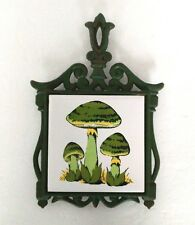 CAST IRON AND TILE TRIVET Retro Green with MUSHROOMS made in Japan hot plate