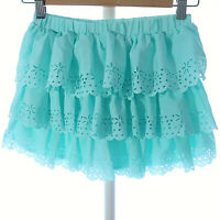 Disney Store 9/10 Skort Shorts Skirt Combo Teal Ruffle Laser Cut Details Girls