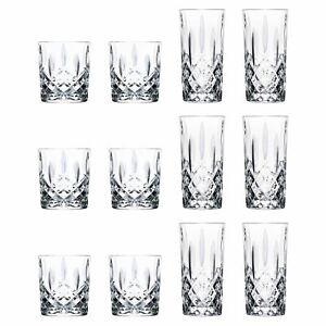 12pc Whiskey Tumblers Highball Glasses Set RCR Crystal Cut Glass Glassware