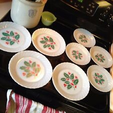 Vintage Termocrisa Mexico Holly/Berry Milk Glass Plates Set of 4 Dinner/ 4 Salad