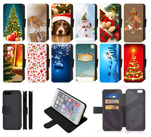 iPhone Faux Leather Printed Flip Phone Case Reindeer Snowman Christmas Design S2