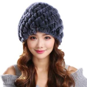 Real Rex Rabbit Fur Hats For Women Winter Warm Earmuffs Cap Handmade Thick Soft