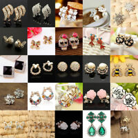New 1 Pair Elegant Women Pearl Crystal Rhinestone Ear Stud Fashion Earrings