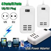 4/6 Port USB US EU Plug Wall Socket Fast Charge Extension Power Adapter Tablet--