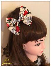 """5"""" Pince à Cheveux Papillon Bow-Crâne de Mort tissu-Bandana Bandeau Pirate Goth"""
