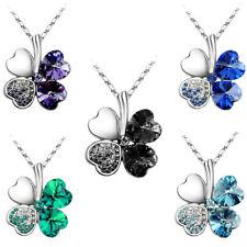 Lucky Women 4 Leaves Clover Heart Romantic Pendant Necklace Mum Girlfriend Gift