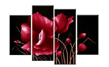 """LARGE RED AND BLACK FLORAL FLOWER CANVAS PICTURE WALL ART SPLIT MULTI PANEL 40"""""""