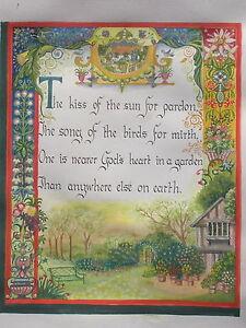 Hand-painted Illuminated manuscript ENGLISH GARDEN calligraphy - GARDENER GIFT