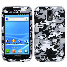 For Samsung Galaxy S II 2 T989 IMPACT TUFF HYBRID Case Cover Grey Skull Camo