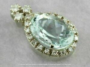 3.55 Ct Oval Cut Aquamarine & Diamond 14K Yellow Gold Over Halo Pendant Necklace