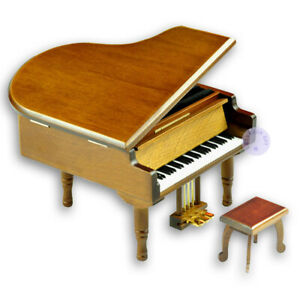 Brown Wooden Piano Music Box With Sankyo Musical Movement (50 Tunes Option)