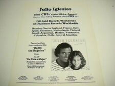 JULIO IGLESIAS Worldwide Success sales/awards plus more 1982 PROMO POSTER AD
