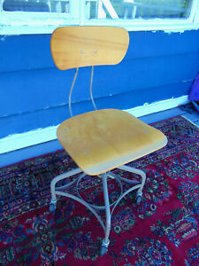 Vintage Toledo Drafting Student Industrial Mid Century Chair Stool