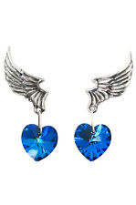 El Corazon Blue Heart Swarovski Crystal Earrings by Alchemy of England ULFE15