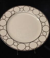 "CIROA CITOLI DINNER PLATE 11"" PLATINUM CIRCLES ON WHITE PLATINUM TRIM"