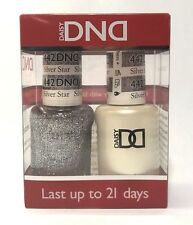DND Daisy Duo Gel W/ matching nail polish lacquer - SILVER STAR - 442- GLITTER