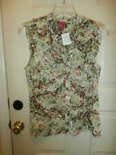NWT NEW SUNNY LEIGH TOP XLARGE BUTTON DOWN SHIRT FLORAL RUFFLES