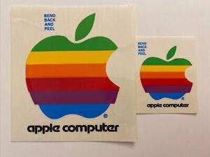 """2 Vintage 1980s Apple Rainbow Logo Decals Stickers 4.5x4 & 2.5x2"""" NOS"""