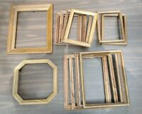 Vintage 12 Wood PICTURE FRAME Lot Recycle Arts Crafts Project Deco oak geo
