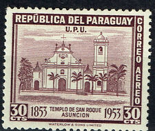 Paraguay Architecture Asuncion San Roque Cathedral Building stamp 1930 Mlh